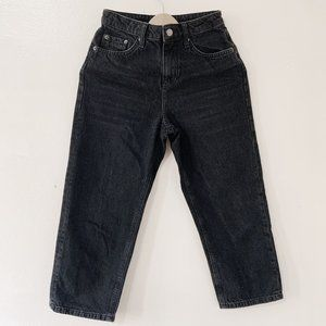 Topshop Straight Leg Crop Jeans, Black, W25 L28